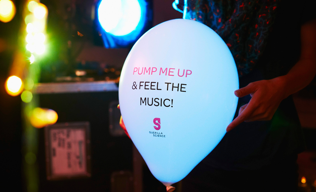 We gave out balloons that vibrate fantastically with heavy bass – Image Rita Platts